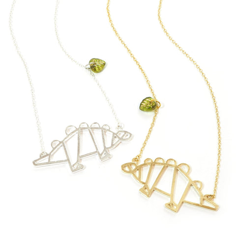 Dino-mighty Necklace - Stegosaurus - Silver and Gold Version