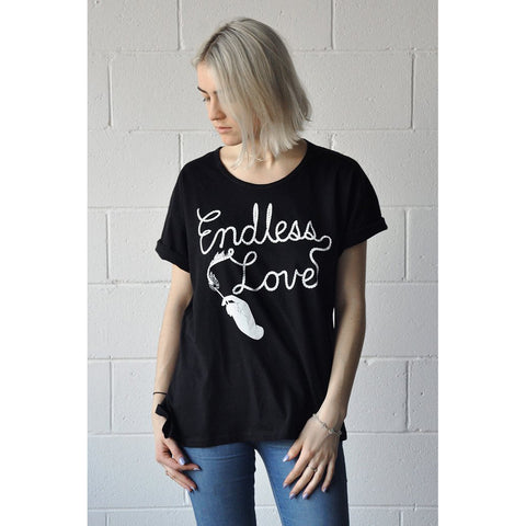 endless love feather illustration loose fit t shirt by stay home club