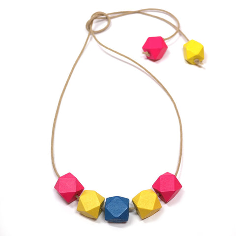 Tropical Faceted Wooden Bead Necklace in Neon Pink, Yellow and Teal