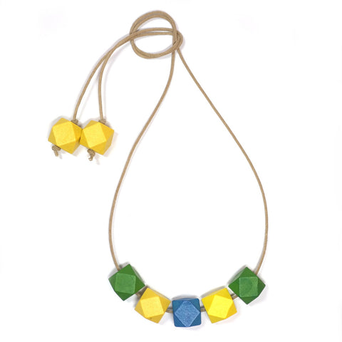 Springtime Wooden Faceted Bead Necklace in Green, Yello and Blue