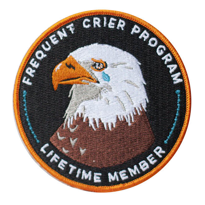 frequent cryer crying eagle iron on embroidered patch
