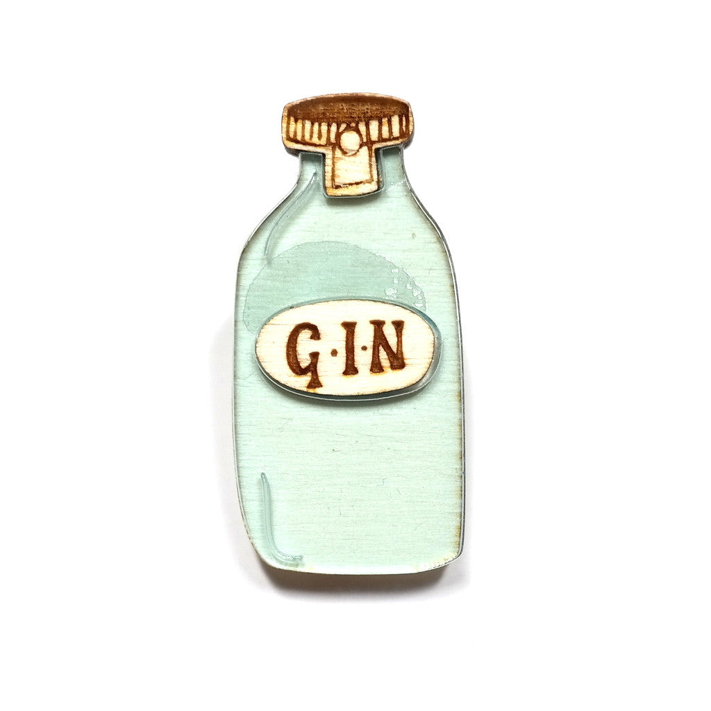 acrylic and wood gin bottle brooch by kate rowland