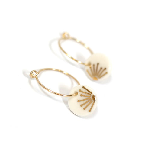 Gold Sunray Hoop Earrings
