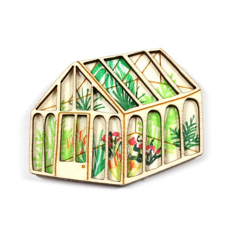 Wooden Double Layer Green House Brooch