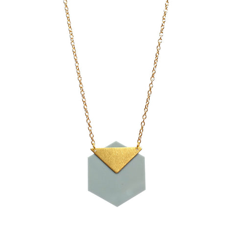 Grey Acrylic and Brass Triangle Vega Necklace