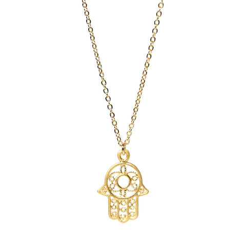 Hand of Hamsa Gold Plated Charm Necklace Larger Version