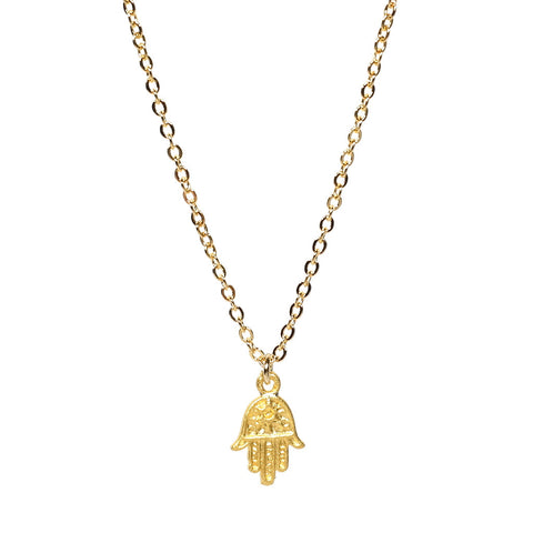 Hand of Hamsa Gold Plated Charm Necklace