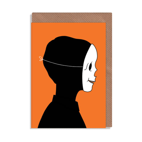 skull mask black and orange happy Halloween greetings card by robbie porter