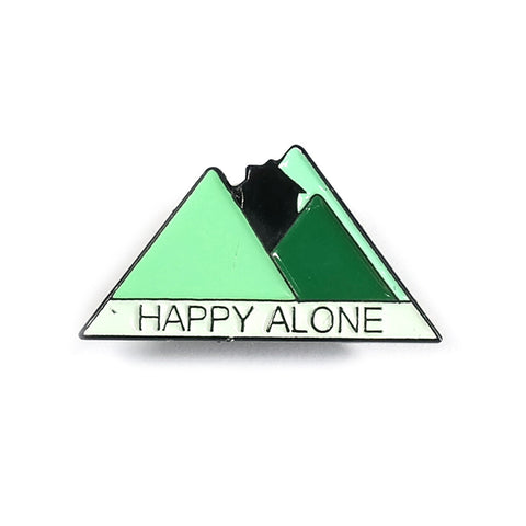 Happy Alone Green Mountain Enamel Pin