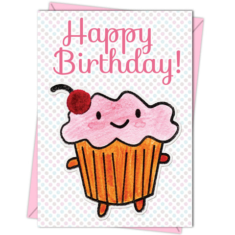 happy birthday cute cupcake blank greeting card