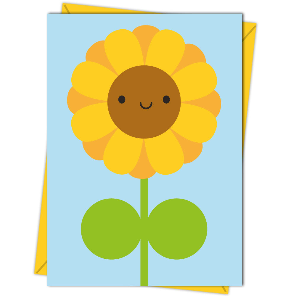 Happy Kawaii Yellow Sunflower Card on a Blue Background
