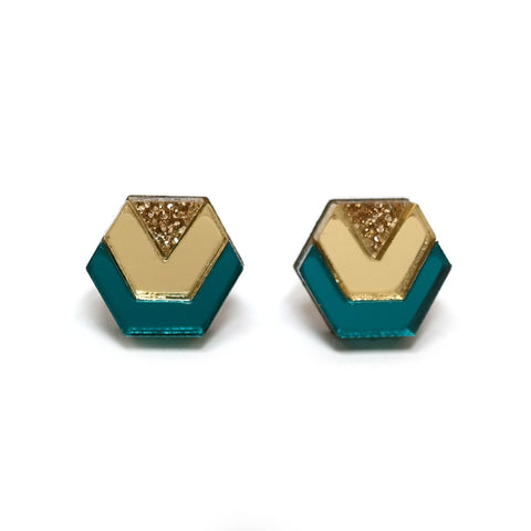 Little Hex Studs in Teal