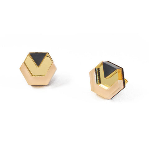 acrylic hexagon stud earrings