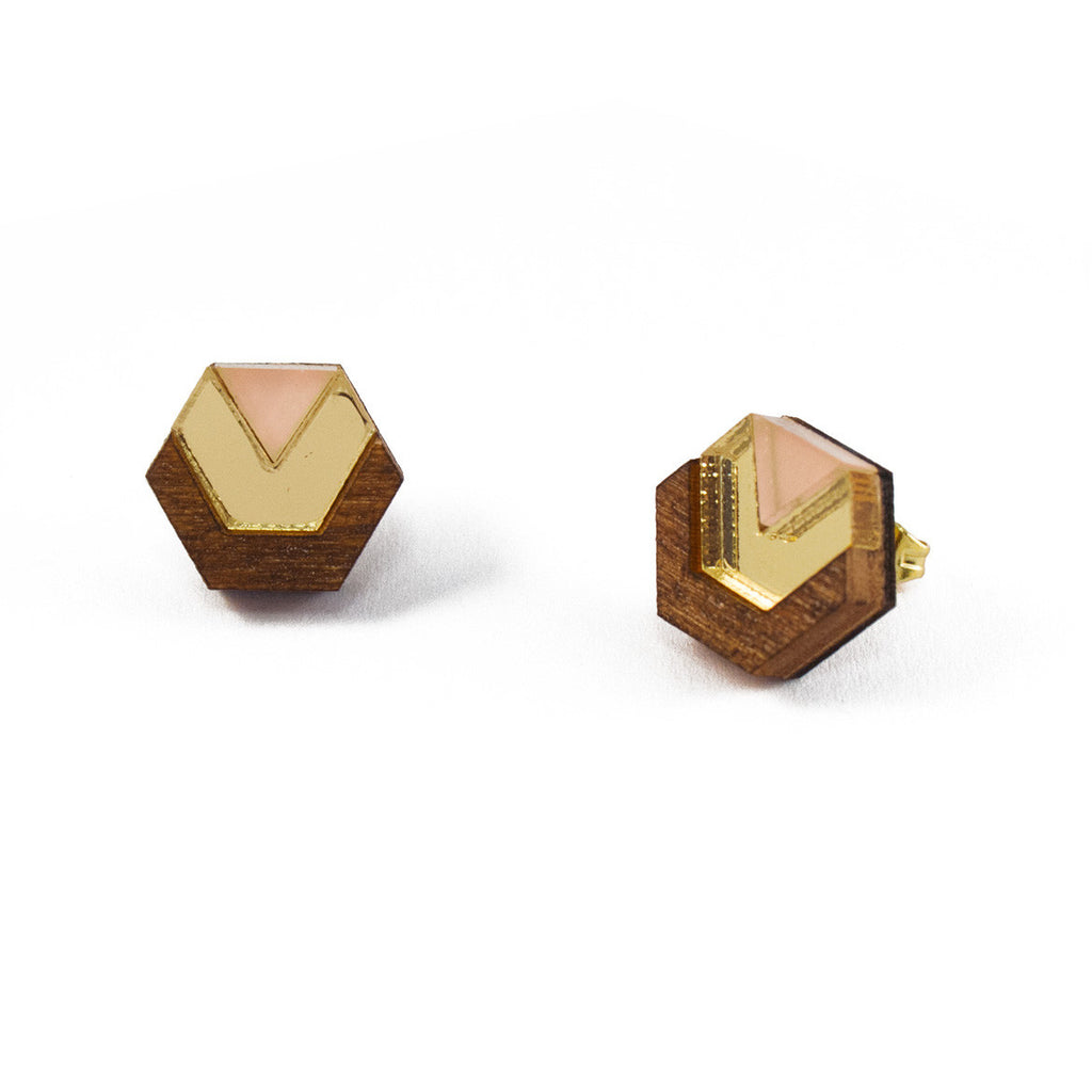 acylic and wood hexagon stud earrings