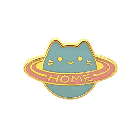 baby cat saturn ring home planet enamel pin brooch by sparkle collective