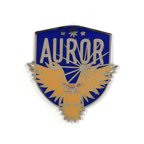 Auror Ministry of Magic Harry Potter enamel pin badge - brown owl bird flying against blue shield background