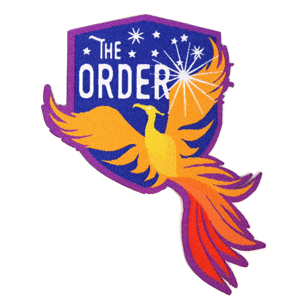 The Order of the Phoenix Harry Potter iron-on embroidered patch - orange phoenix bird on a blue shield shape background.