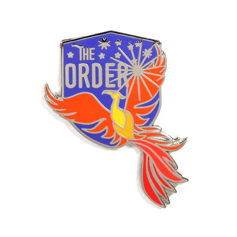 The Order of the Phoenix Harry Potter enamel pin badge - orange phoenix bird on blue shield background