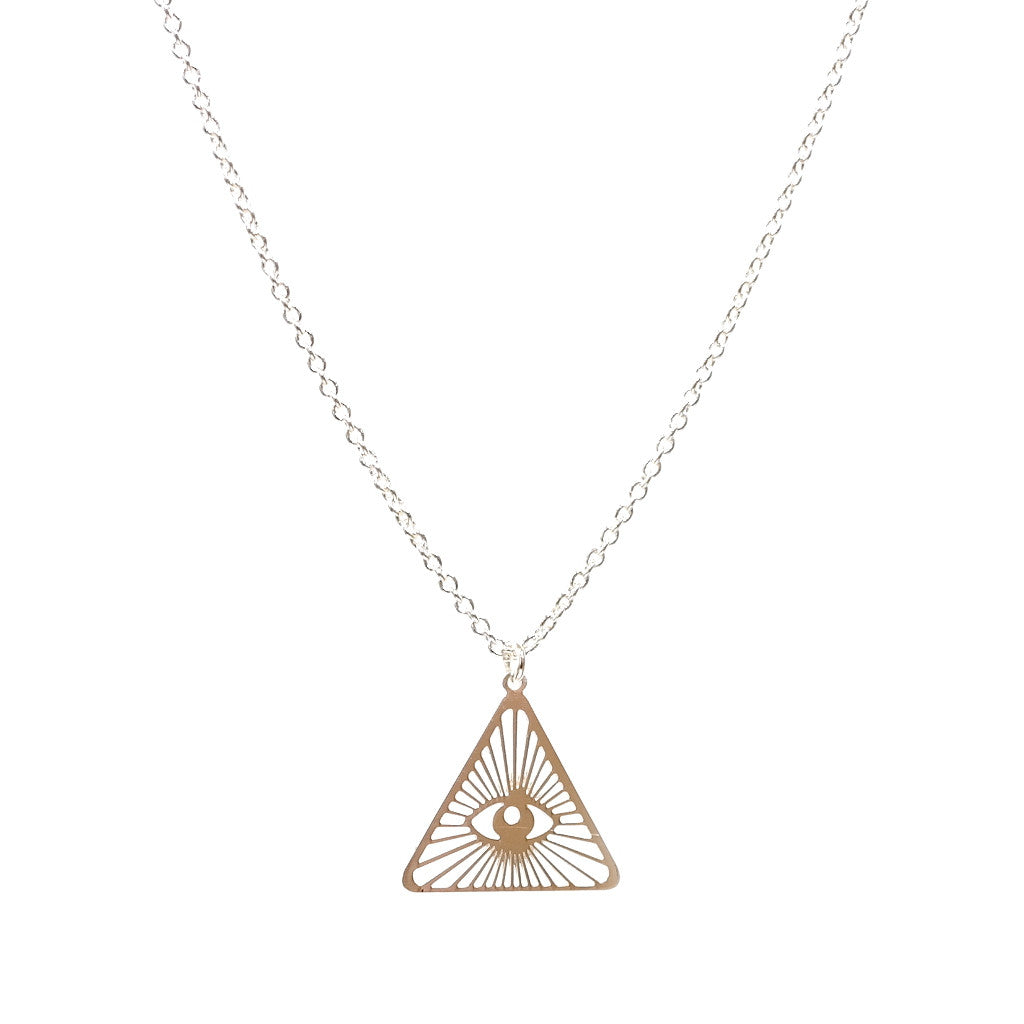 Silver All Seeing Eye I See You Illuminati Triangle Pendant Necklace