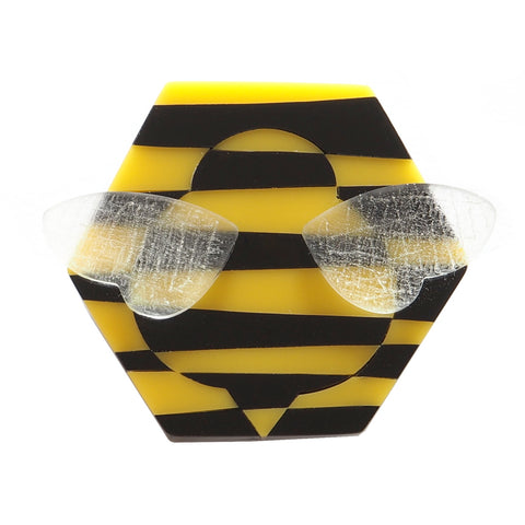 black and yellow stripey bee brooch in acrylic