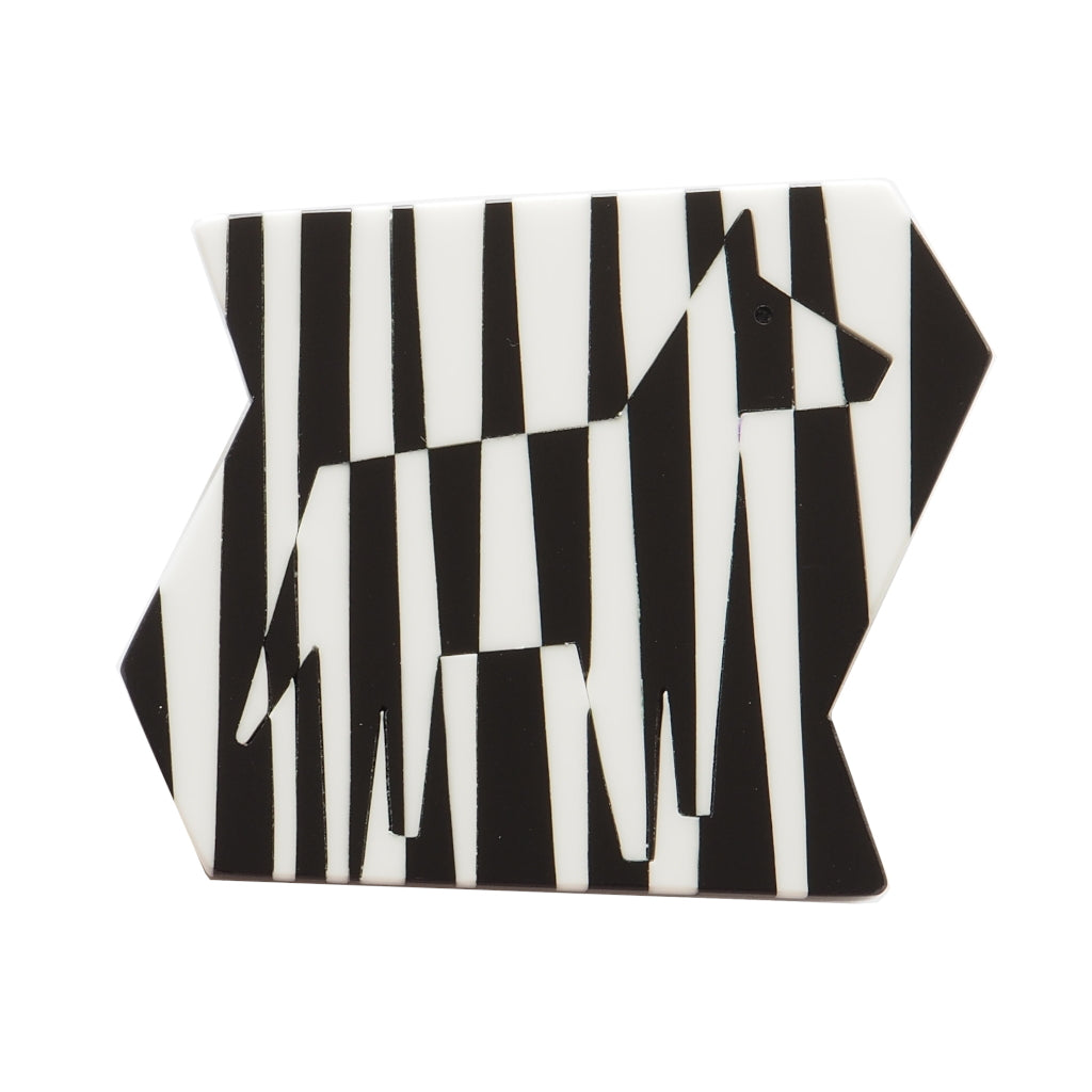 black and white zebra brooch