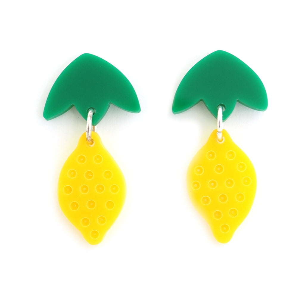 acrylic yellow and green lemon earrings