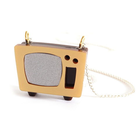 Retro style television acrylic necklace in gold and silver on silver chain