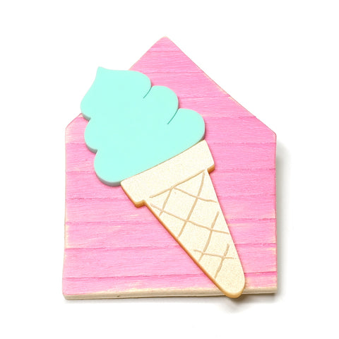 hand painted wood and acrylic ice cream beach hut brooch by i am acrylic mint