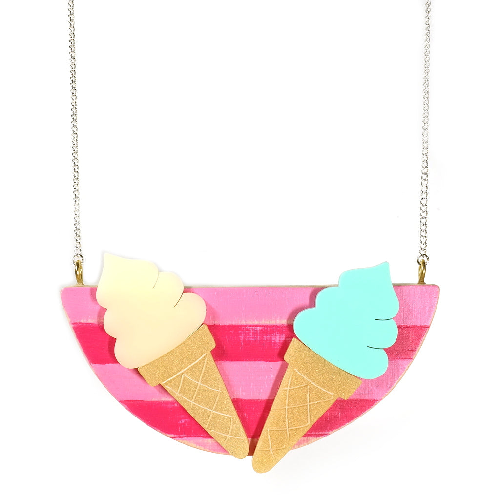 ice cream beach hut summer time necklace by i am acrylic