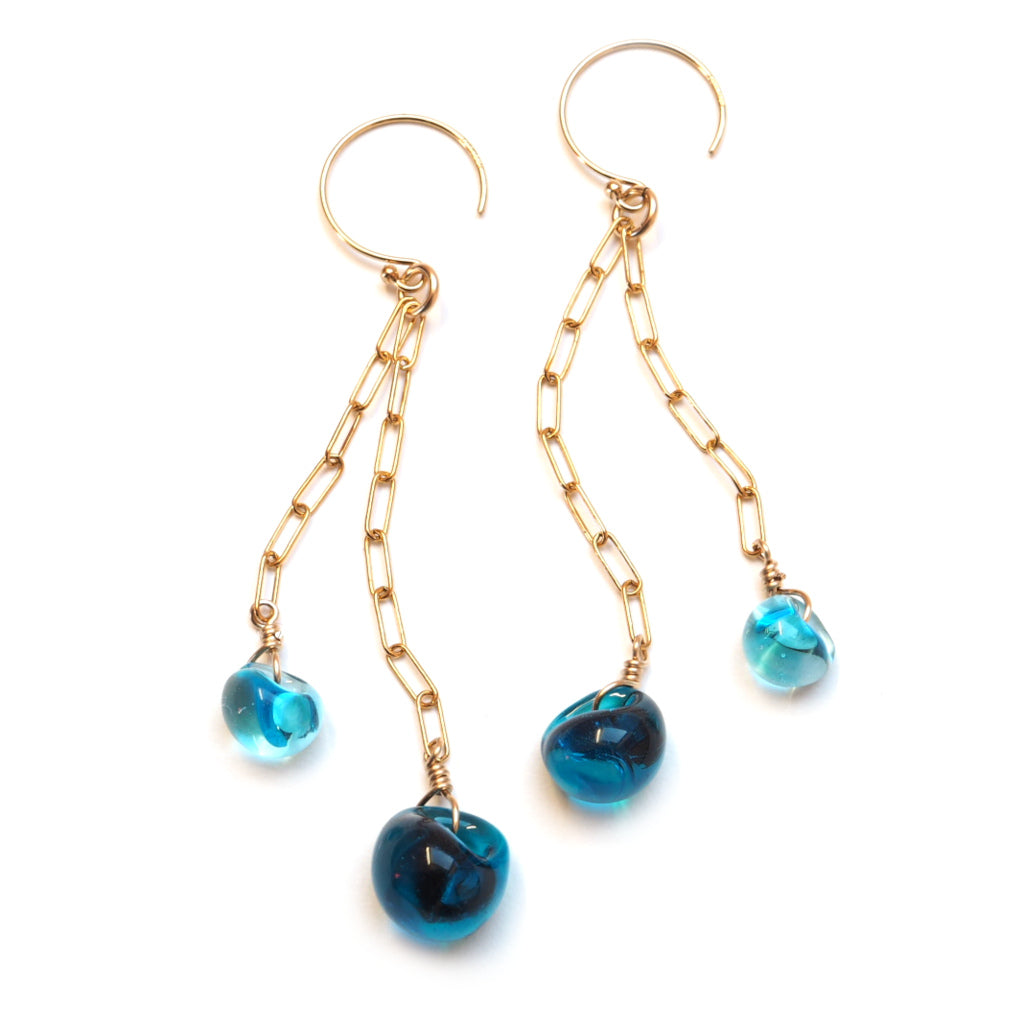 Island Double Drop Earrings in Deep Blue
