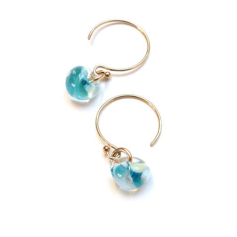 Island Glass Bead Earrings in Cove