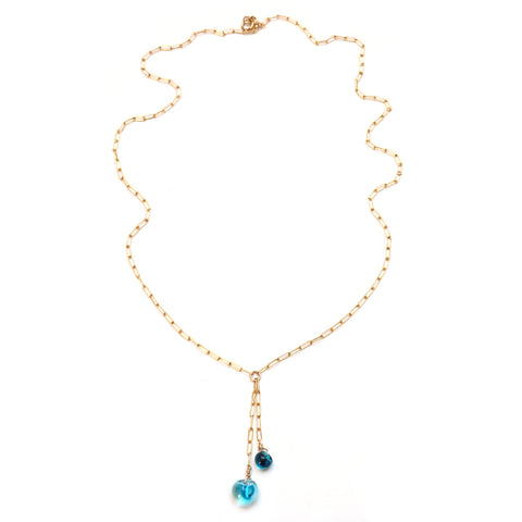 full image of Island Double Drop Necklace in Deep Blue