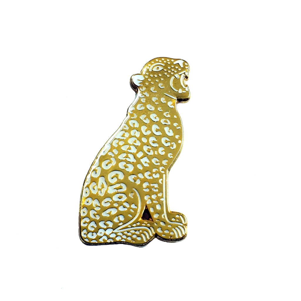 Jacqueline Colley shiny gold leopard big cat enamel pin badge