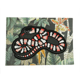 Jacqueline Colley iron on milk snake red white and black stripy serpent embroidered patch on  backing card