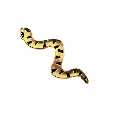 Jacqueline Colley gold and black snake enamel pin badge