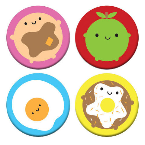 Kawaii Breakfast Set of 4 Badges Pancake Apple Egg Donut