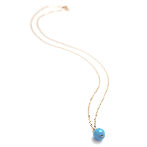 Full Length Kyoto Orb Necklace in Water Blue on A Gold Flled Chain