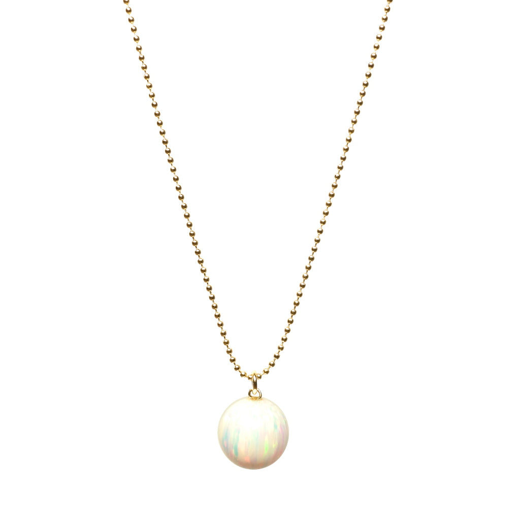 The Kyoto Orb Necklace in White on A Gold Flled Chain