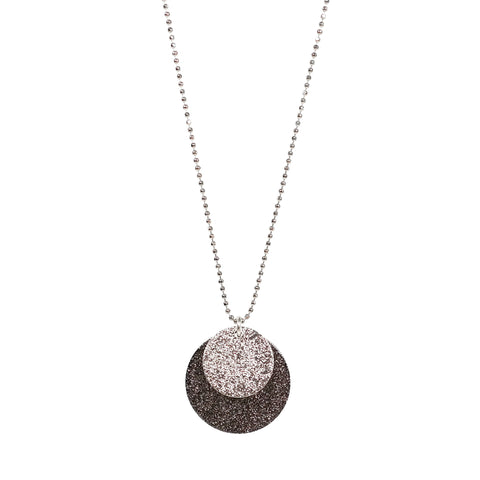 Stardust Double Disc Eclipse Necklace in Silver Tone and Black