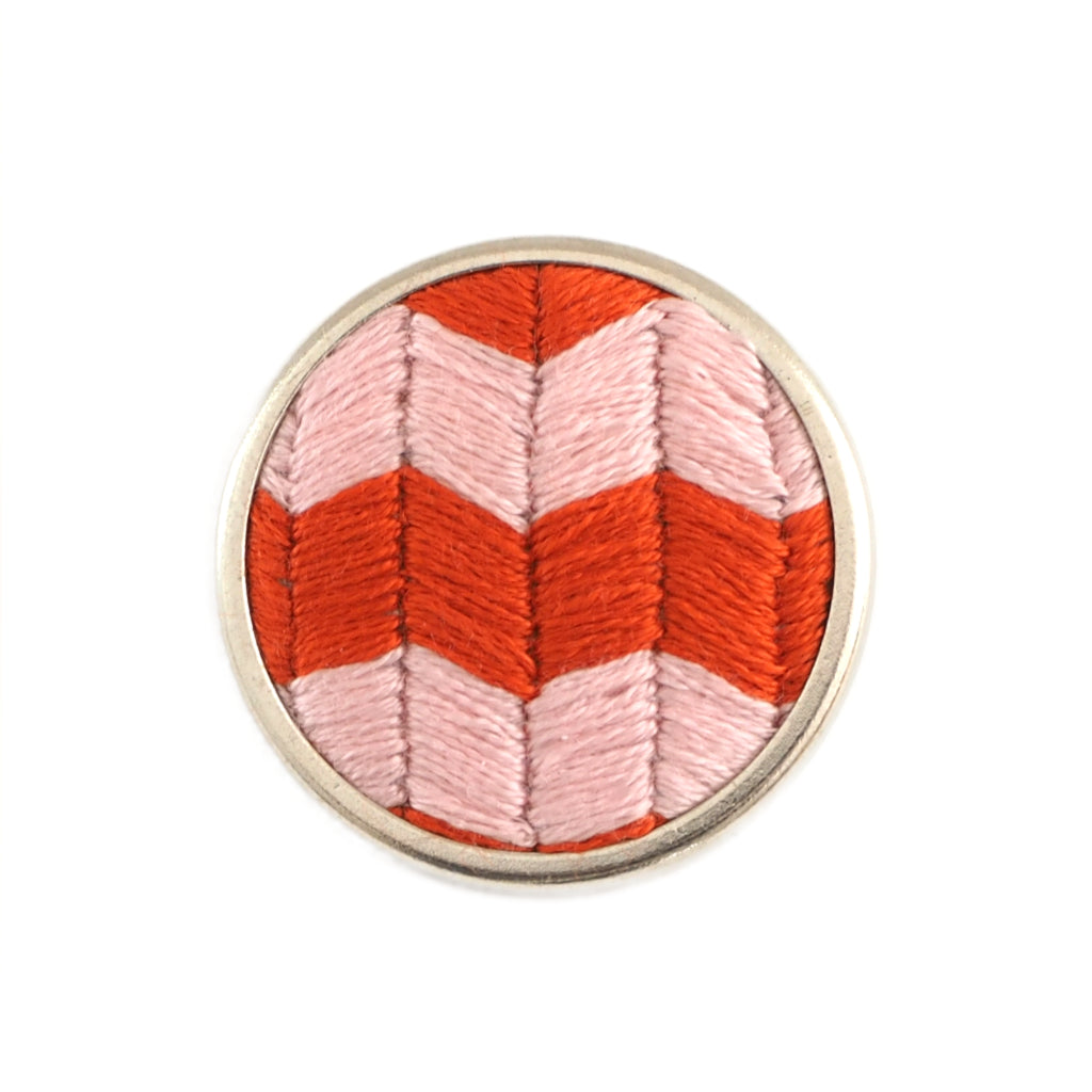 Cali pink and red zig-zag chevron pattern hand embroidered brooch