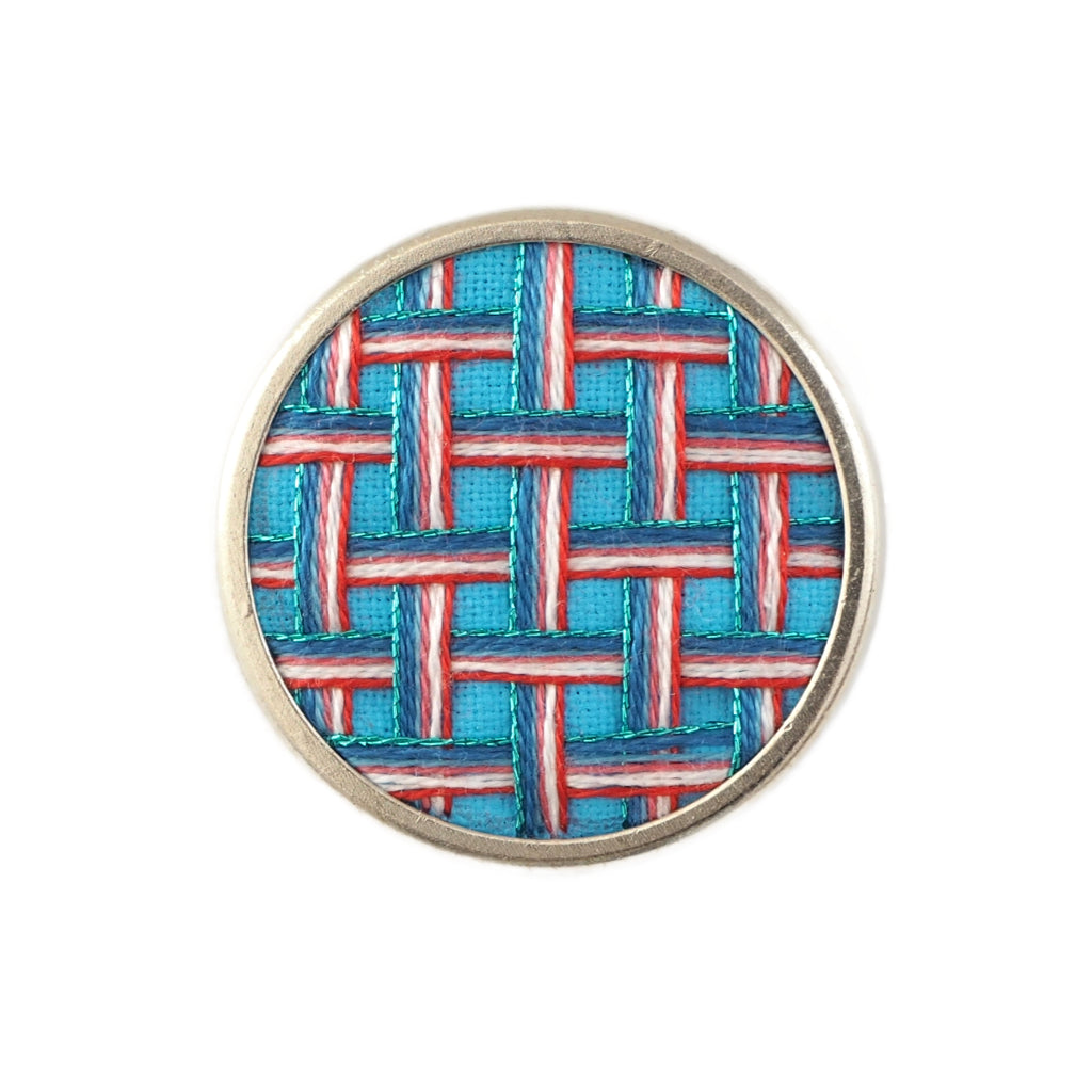 Ellen red, white and blue woven embroidery brooch