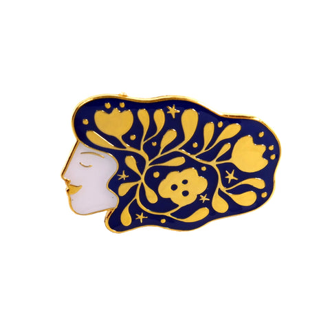 lisa junius woman with cosmic hair enamel pin badge