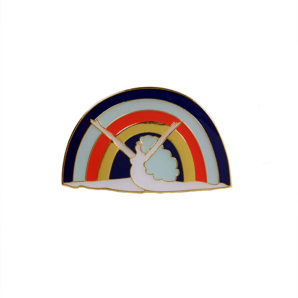Lisa Junius leaping rainbow girl nude woman enamel pin badge