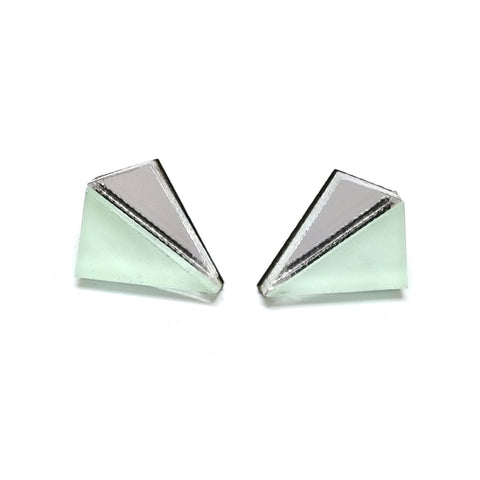 Little Pyramid Studs in Mint and Silver