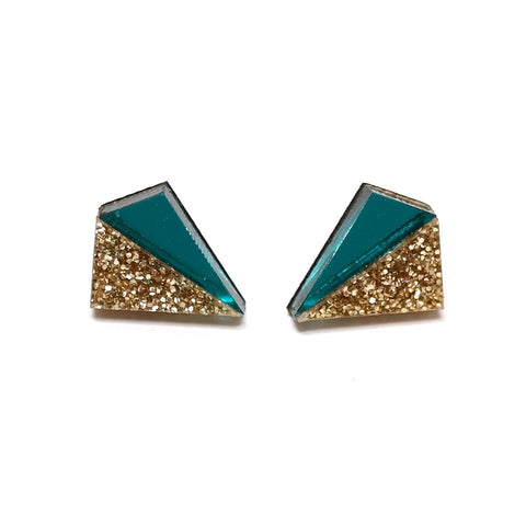 Little Pyramid Studs in Teal and Gold