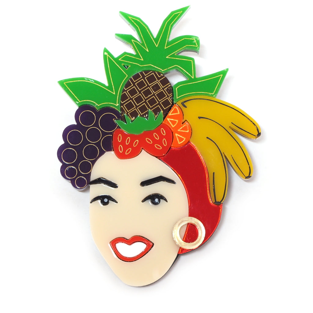 Carmen Miranda Acrylic Icon Brooch with Fruit Hat