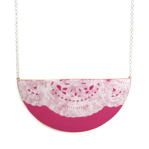 Pink semi circle lace doily detail wooden necklace on silver chain