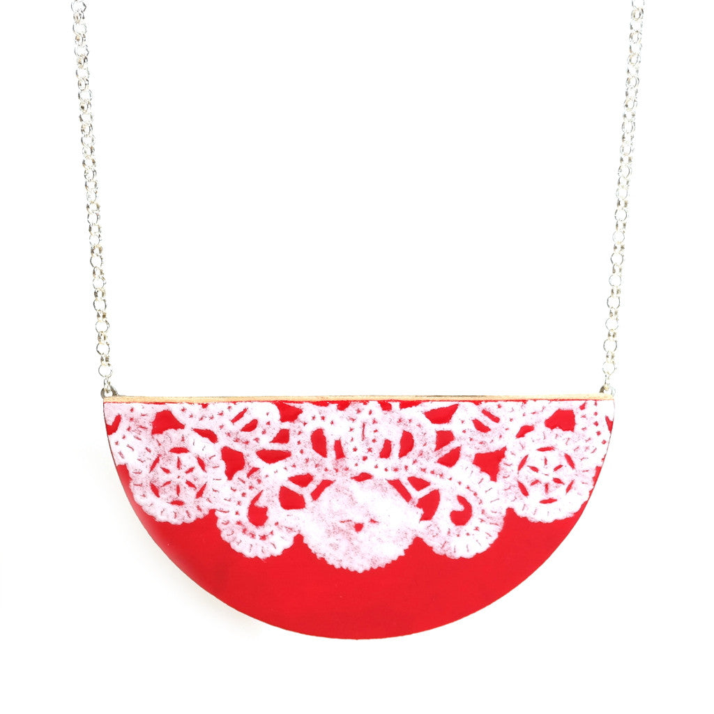 red pink raspberry semi circle lace detail wooden necklace on silver chain