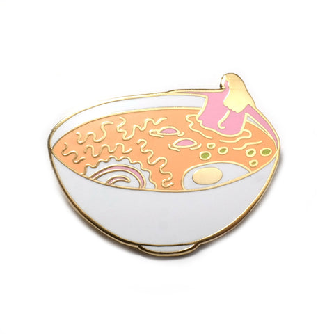 man i feel like a ramen bathing lady enamel pin