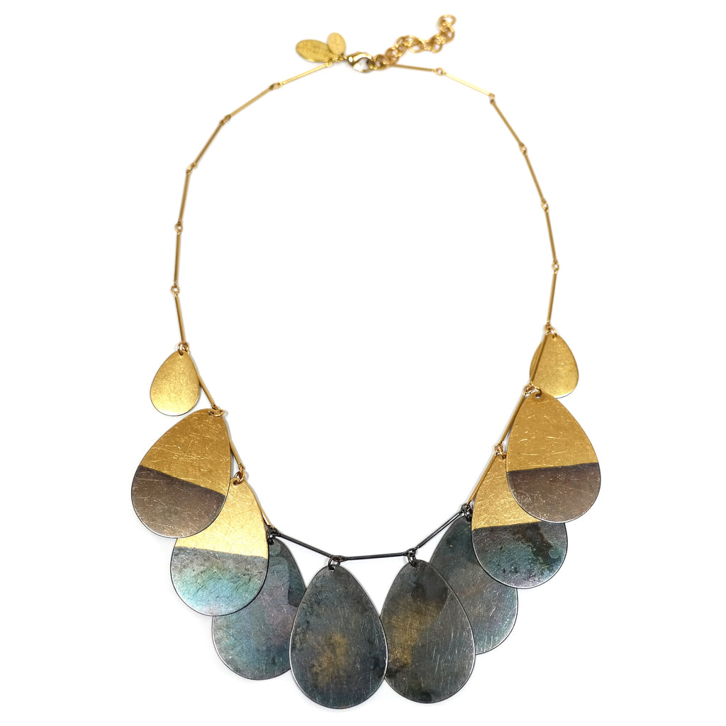 mekina golden brass and black teardrop statement necklace